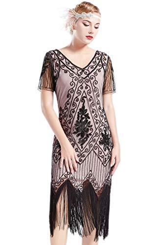 (ArtiDeco 1920s Kleid Damen Flapper Kleid mit Kurzem Ärmel Gatsby Motto Party Damen Kostüm Kleid (Beige Schwarz, M))
