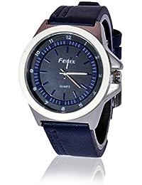 Fusine™ Fenix Premium Watch Analog Stylish Leather Watches For Men (Blue)