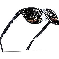 ATTCL Hombre Gafas de sol Polarizado Al-Mg Metal Super Ligero Marco 18587black