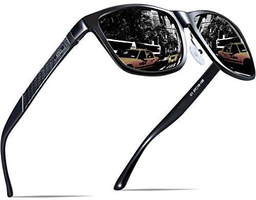 ATTCL Herren Polarisierte Fahren Sonnenbrille Al-Mg Metall Rahme Ultra Leicht 18587black (Leichtes Ziel)