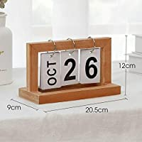 Ochoos ElimElim Nordic Wood Calendar Desktop Office Decoration Vintage Zakka Decor Figurines & Miniatures - (Color: Nature Color)