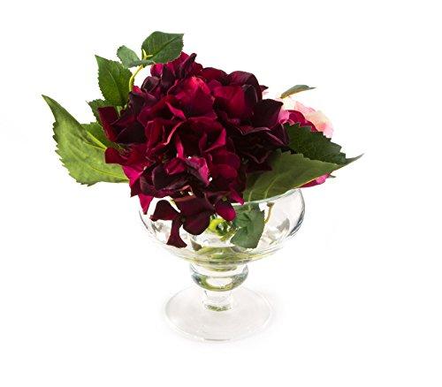 PEONY 7425 Künstliche Hortensie und Rosen in Glasschale mit noch Wasser -