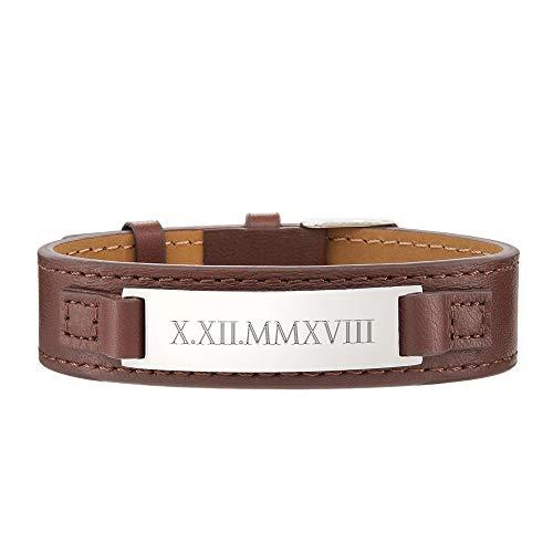 Gravado bracciale da uomo in pelle marrone - targhetta in acciaio inox con incisione data numeri romani - chiusura fibbia regolabile - accessori