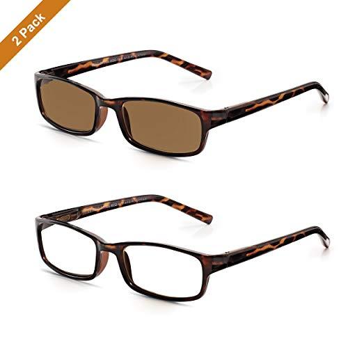 Read Optics 2er Pack Lesebrillen für Damen und Herren in braunem Schildpatt. Leichte Reisebrillen im Set, aus Polykarbonat und mit rechteckigen DifuzerTM Qualitäts-Gläsern in Stärke +1,5 Dioptrien