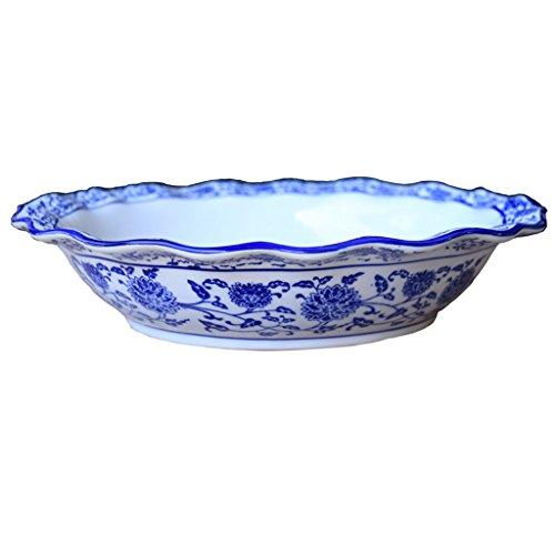 WANWY Ciotola in ceramica blu e bianca, vaschetta per il pesce bollita con capacità di 10