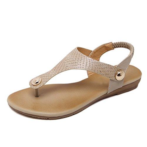aux femmes tongs Chaussures en sandale Des boucles d'Europe abricot