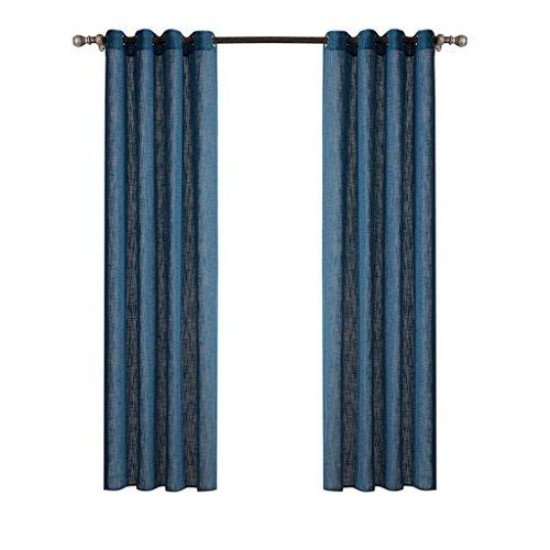 LLW Moderne Minimalistische Wohnzimmer Balkon Verdunkelungsvorhänge Schlafzimmer Erker Fenster Einfarbig Oxford Tuch Vorhänge(Zwei Stück), Blue, 140 * 240cm