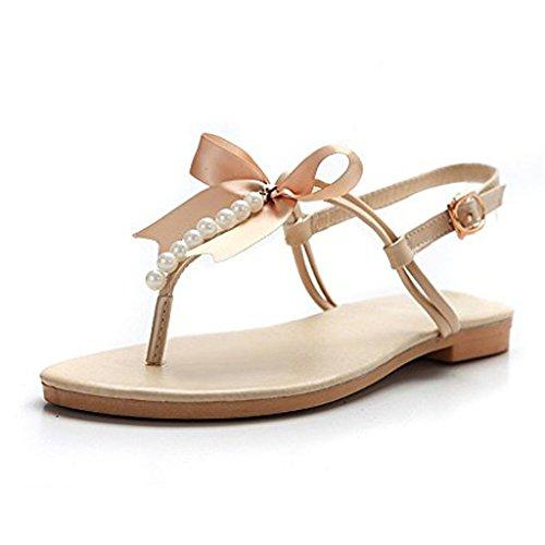 Minetom Damen Mädchen Sommer Flache Sandalen mit Schleife und Weiße Perlen T-Riemen Zehentrenner Sandaletten Peep Toe Schuhe Beige EU 35 -