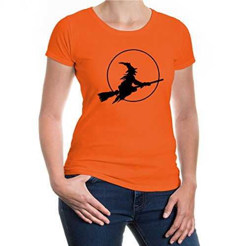 buXsbaum® Girlie T-Shirt Halloweenhexe Orange-Black