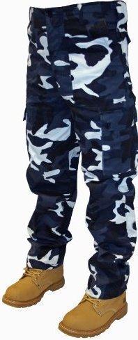 Pantaloni cargo militari da adulto, larghezza da 76,2 a 127 cm, lunghezza 76,2 e 81,3 cm Blue