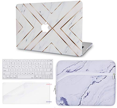 Luvcase MacBook-Tasche mit Tastaturschutz, Displayschutzfolie, Hülle, USB Mehrfarbig White Marble Gold Stripes with Sleeve, Keyboard Cover and Screen Protector A1278 Old Pro 13