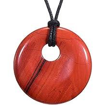 Edelstein Halskette Kette 80 cm runder Donut Anhänger Heilstein Chakren Scheibe