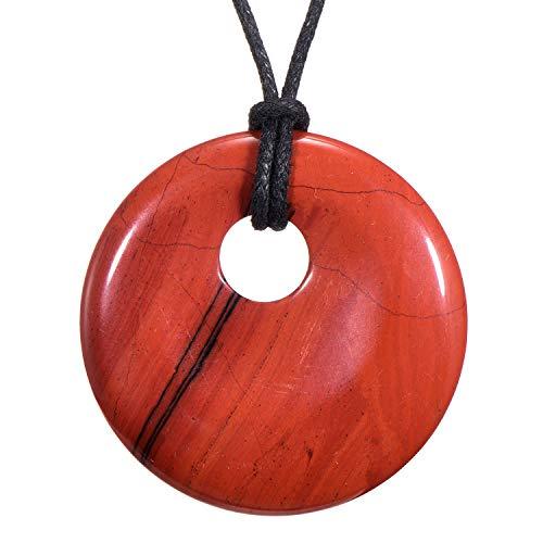 Morella Damen-Halskette 80 cm mit rundem Edelstein Anhänger roter Jaspis im Samtbeutel