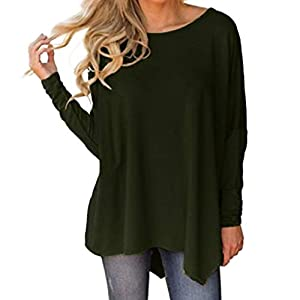 Yuutimko Loose Long Sleeve Tops for Women, Women Ladies Long Sleeve O-Neck Pure Color Batwing Sleeve Irregular Hem Blouse Tops