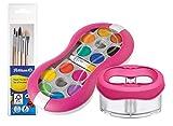 Pelikan Deckfarbkasten Space+ 735 SP/24 mit 24 Farben und 1 Tube Deckweiß (Starter-Set Magenta mit Space-Wasserbecher + Pinsel-Set)
