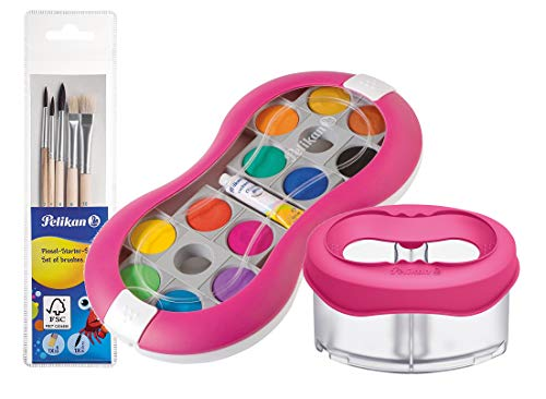 Pelikan Deckfarbkasten Space+ 735 SP/12 mit 12 Farben und 1 Tube Deckweiß/Starter-Set (Magenta mit Space-Wasserbecher + Pinsel-Set)