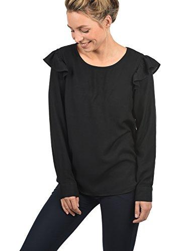 ONLY Smilja Damen Lange Bluse Hemdbluse Langarm Mit Rundhals Und Optional Mit Nadelstreifen Regular Fit, Größe:42, Farbe:Black