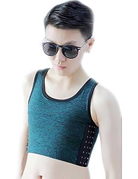 BaronHong Tomboy Trans Lesbian Cotton Chest Binder Más Tamaño Short Tank Top con Stronger Elastic Band