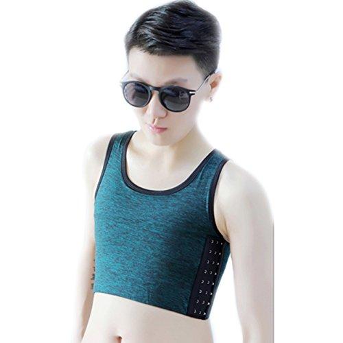 BaronHong Tomboy Trans Lesbische Baumwolle Brust Binder Plus Size Short Tank Top mit stärkerem Gummiband (ArmyGreen, S)