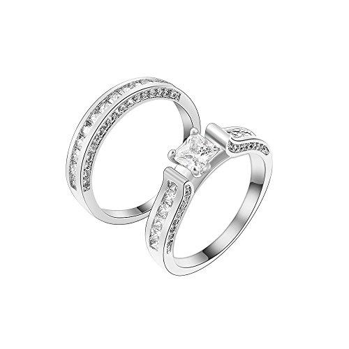 souart 1 Paare Strass Ring Silber Verlobungsringe Edelstein für Damen und Männer Partnerring Freudschaftsring