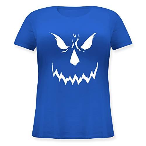 Halloween - Scary Smile Halloween Kostüm - XL (50/52) - Blau - JHK601 - Lockeres Damen-Shirt in großen Größen mit Rundhalsausschnitt (Kürbis Kostüm Pi)