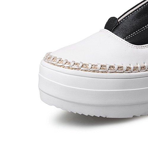 VogueZone009 Femme à Talon Bas Couleurs Mélangées Tire Rond Chaussures Légeres Noir