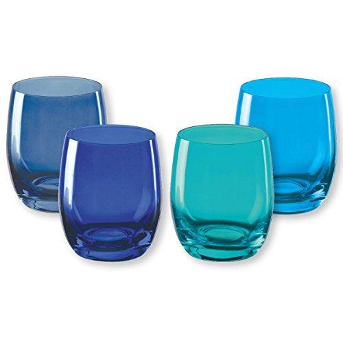 Bruno Evrard Gobelets Bas en Verre Bleu 30cl - Lot de 4 - KADOR