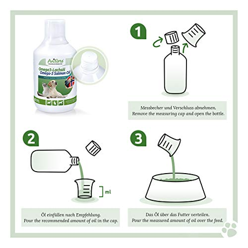 AniForte Omega-3 Lachsöl 1 Liter für Hunde, Katzen und Pferde, Kaltgepresst, Reich an EPA, DHA und ALA Fettsäuren, Natur Pur, Barf Ergänzung - 6