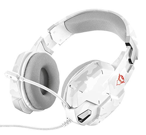 Trust GXT 322C Cuffie da Gioco Stereo Imbottite in Maglia a Rete, Microfono Flessibile e Bassi Potenti, Bianco Camuffamento