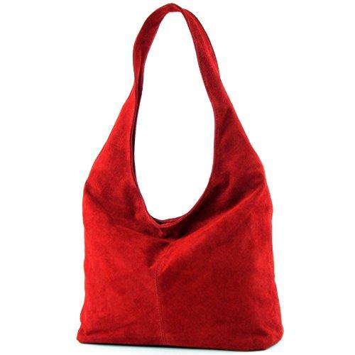 modamoda de - ital. Ledertasche Umhängetasche Schultertasche Damentasche Wildleder T150, Präzise Farbe:Dunkelrot (Wildleder Handtasche Umhängetasche)