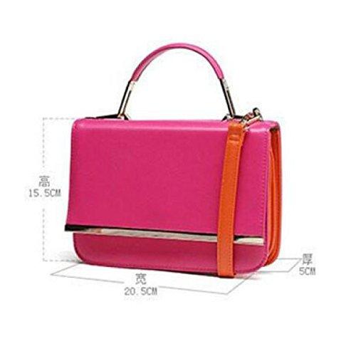 Donne Borse Nappa Frange Satchel Borse Top Handle Portafogli Strutturati Shoulder Bags,Pink Black