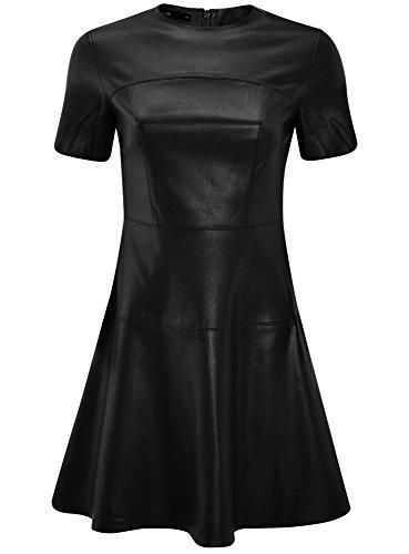 oodji Ultra Damen Kleid aus Lederimitat mit Ausgestelltem Rock Schwarz (2900N)