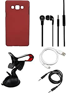 NIROSHA Cover Case Headphone USB Cable Mobile Holder for Samsung Galaxy A8 - Combo