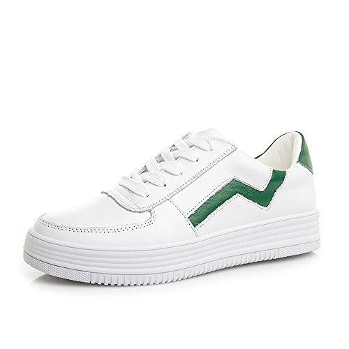 HAIZHEN   Stivaletto Sneakers delle donne Primavera Estate Autunno Inverno Comfort PU Outdoor Athletic Casual Low Heel Bianco per 18-40 anni Per 18-40 anni ( Colore : Nero , dimensioni : EU37/UK4-4.5/ Bianca