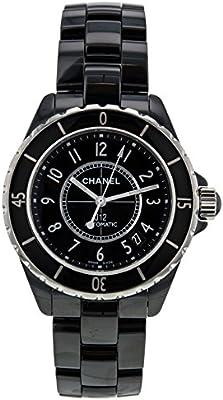 Chanel J12H0685negro cerámica y acero inoxidable 38mm automático reloj de pulsera de mujer