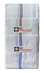 Handkerchief for Mens, White Rumal (12pc Pack) 45x45 Cm - By XYZ Textiles