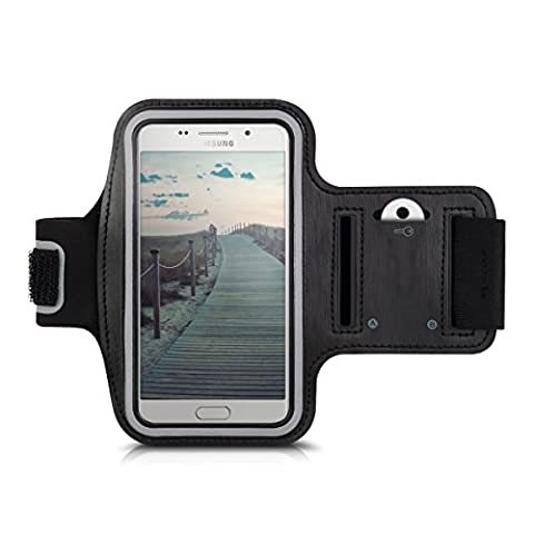 kwmobile Bracelet de sport pour Samsung Galaxy A5 (2016) - jogging footing sac de sport bracelet de fitness avec compartiment pour clés dans le bracelet de sport en noir