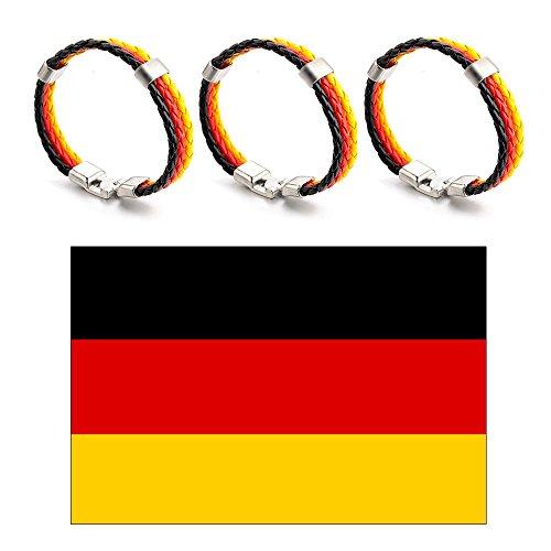 Feicuan Fußball WM Flagge 2018 Deutschland Nationalflagge 90x150 cm mit 3 Stück Alloy Leder Armbänder Fußball Fans Liefert Sets (Wohnzimmer 5 Stück Leder)