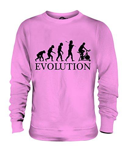 CandyMix Fahrradergometer Heimtrainer Evolution Des Menschen Unisex Herren Damen Sweatshirt, Größe 2X-Large, Farbe Rosa