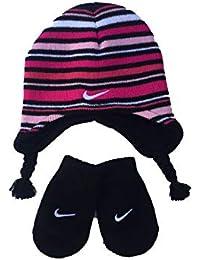 e18ae6130cb Nike Stripe Beanie and Mitten Set (Infant Toddler) Black 12-24 Months