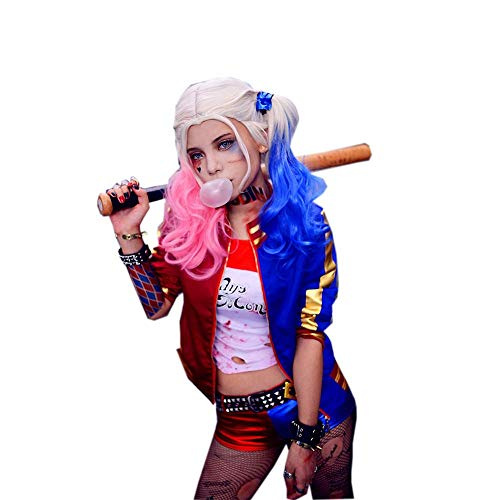 Nexthops Harley Quinn Cosplay Disfraz para Chicas Traje para Mujeres Camiseta con Cinturón Pantalones Completo