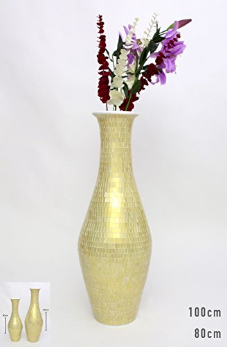 Tall Floor Vase With Glass Mosaic 80 Cm, Ceramic, Golden