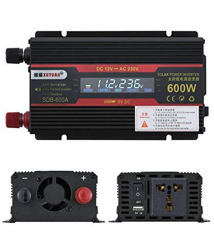 600W Inverter, impilabile 12V a 220V-HS-600W, 1 AC recipienti 1 porta USB, per il campeggio, camper, camion, auto, solare o delle famiglie-24Vto110V-nero