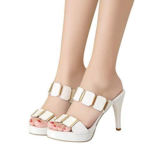 HILOTU High Heel Sandalen Für Frauen Elegante Gemütliche Atmungsaktive Anti-Rutsch-Sandalen Zum Überziehen Sommer Mode Klassiker Einfarbig Lässig Sandalen (Color : Weiß, Size : 37 EU) -