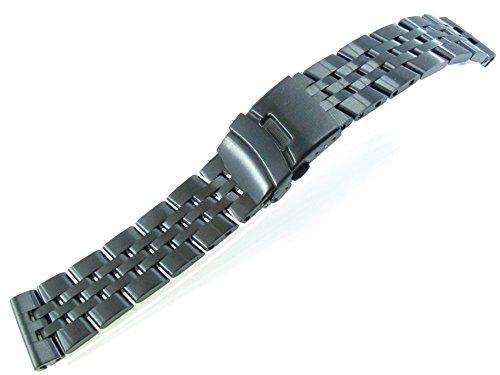 JRRS7777 22mm Herren Armbanduhr Armband Edelstahl Schwarz Gebürstet MB2021B