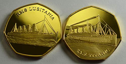 The Commemorative Coin Company 2 Gedenkmünzen aus 24 Karat Gold, RMS Titanic & LUSITANIA / 50 Pencesammler Ocean Liner -