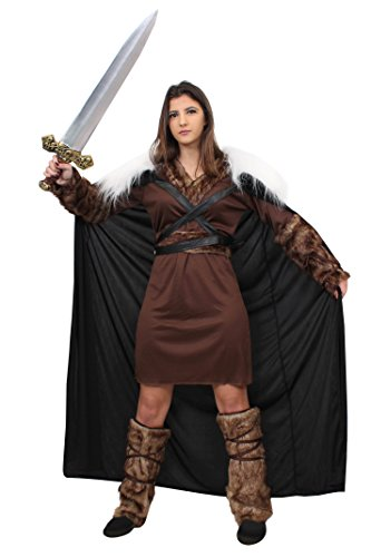 Erwachsenen Für Conan Kostüm - ILOVEFANCYDRESS Wikinger Krieger Prinzessin KOSTÜM VERKLEIDUNG Ragnar =MIT+OHNE ZUBEHÖR=Tunika+GÜRTEL+ARM Fellimitat BINDEN+Fell IMITAT Stulpen+UMHANG+Schwert=Game Off Thrones Fasching Karneval=Large