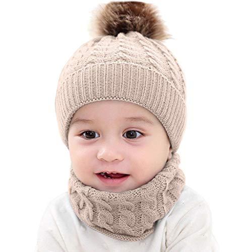 Tomatoa Baby Hüte Mützen Schal Sets Jungen Mädchen Kapuze Schal Mützen Kinder Warm Gestrickter Mütze Beanie Mütze Warm Strickmütze Halstücher