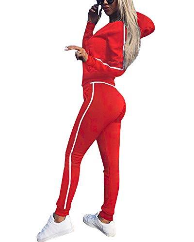 Tomwell Damen Samt Bekleidungsset Sport Freizeit Pullover Hose Set Frühling 2 Teilig Bauchweg Jacke Freizeithose Einfarbig mit Choker Rot DE 38