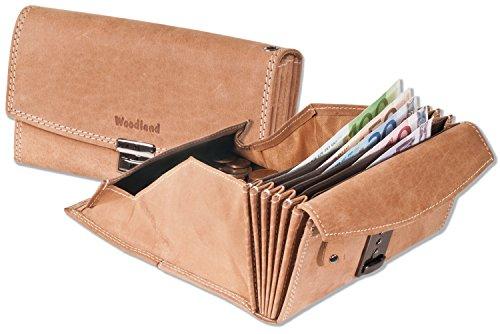 Woodland - professionale Kellnerbörse con portamonete appositamente rinforzato fatto di non trattata, morbido Elder bufala Beige